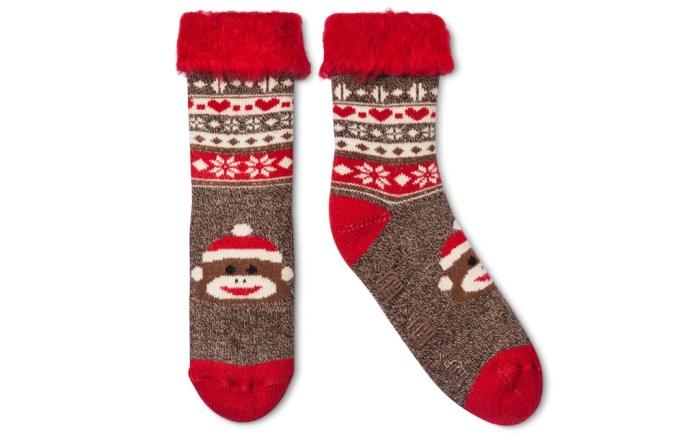 Christmas monkey socks