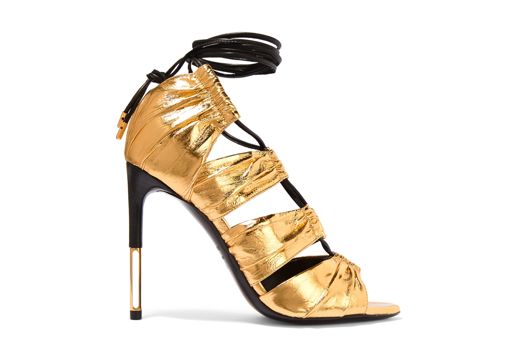 Tom Ford metallic lace-up sandals; previously $1,790, now $895.
