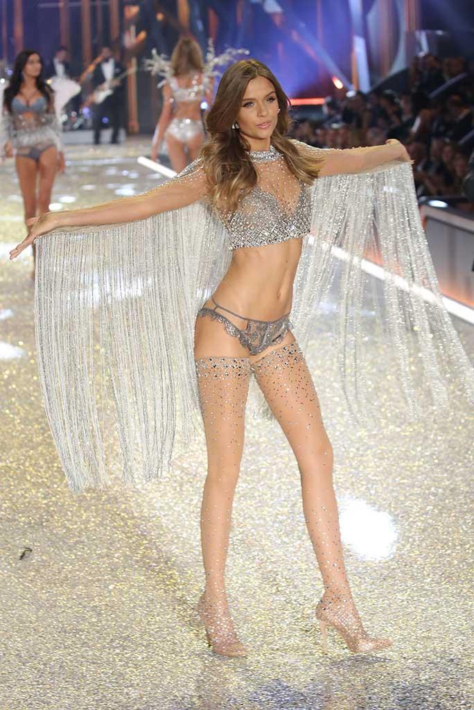 Victoria's Secret angel Josephine Skriver in Swarovski stocking boots.
