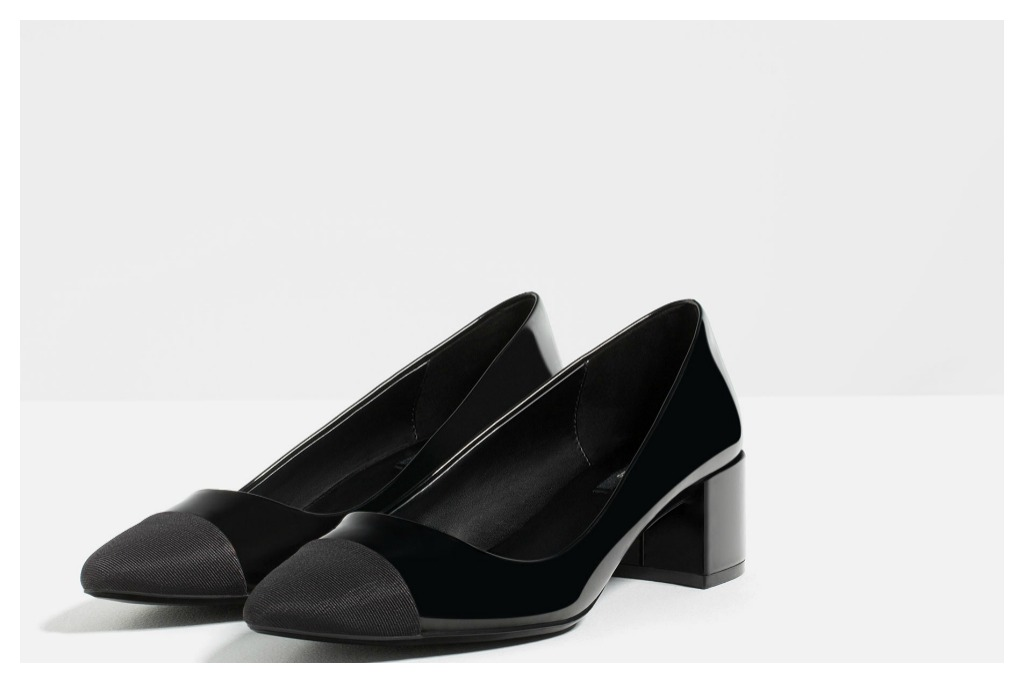 Mid-Heel Shoes with Contrasting Toe Cap