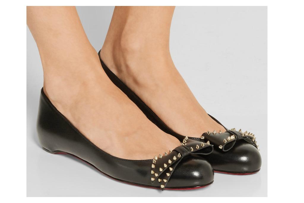 Christian Louboutin Ballalarina Bow-Embellished Leather Flats