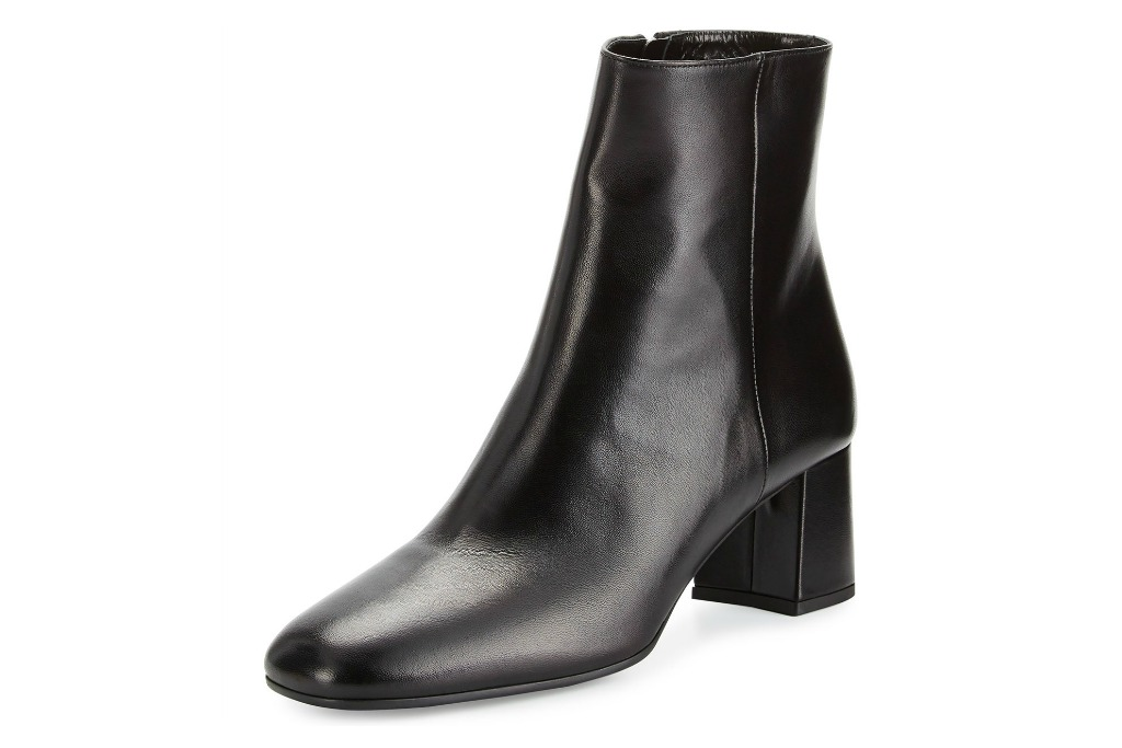 Prada Leather Square-Toe 55mm Ankle Boot
