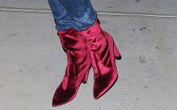 Gigi Hadid Celebrities Velvet Boots