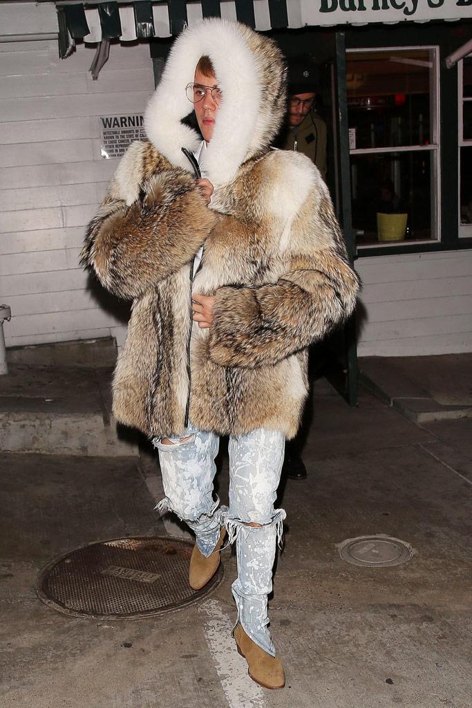 Justin Bieber Fur Coat Saint Laurent Boots