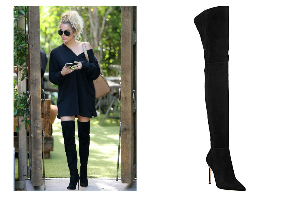 Gianvito Rossi Suede Cuissard Boots