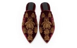 Sanayi 313 Velvet ,Metallic Antique Gold Threads Embroidery, Leather Lining