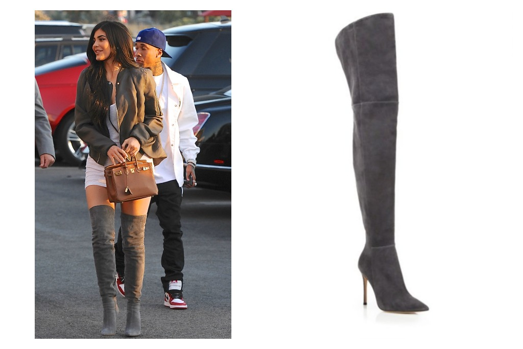 Gianvito Rossi Lea Cuissard Over-The-Knee Suede Point-Toe Boots