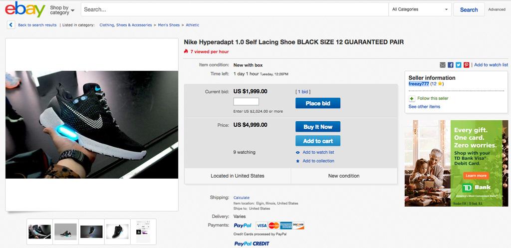 eBay Nike Hyperadapt 1.0