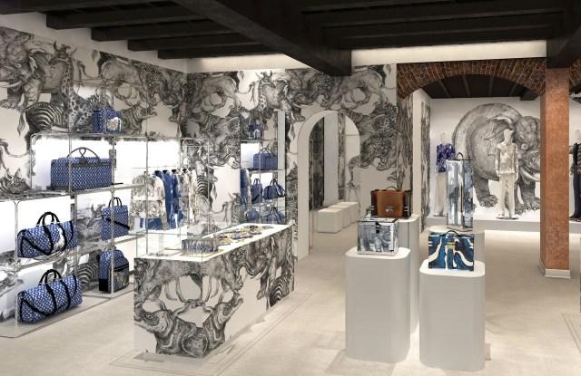 Rendering of Louis Vuitton's new pop-up.