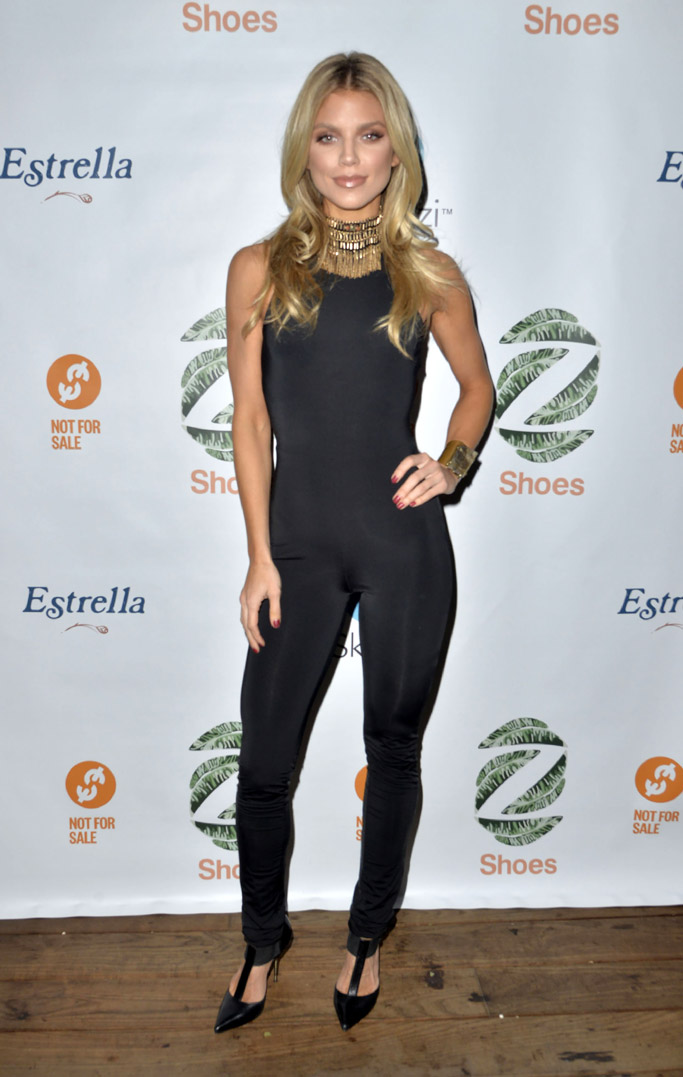 AnnaLynne McCord wears Tom Ford heels at the Not For Sale x Z Shoes Benefit in Los Angeles.