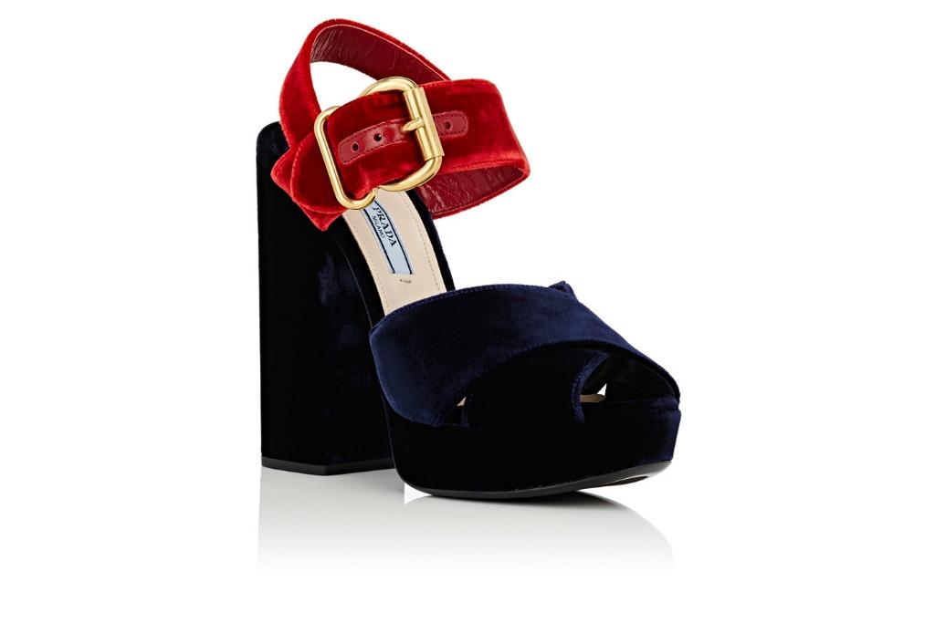 Prada Colorblocked Velvet Platform Sandals