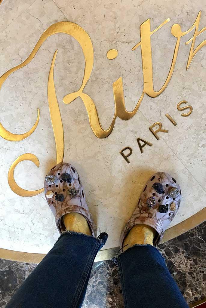 Wearing Crocs at The Ritz.