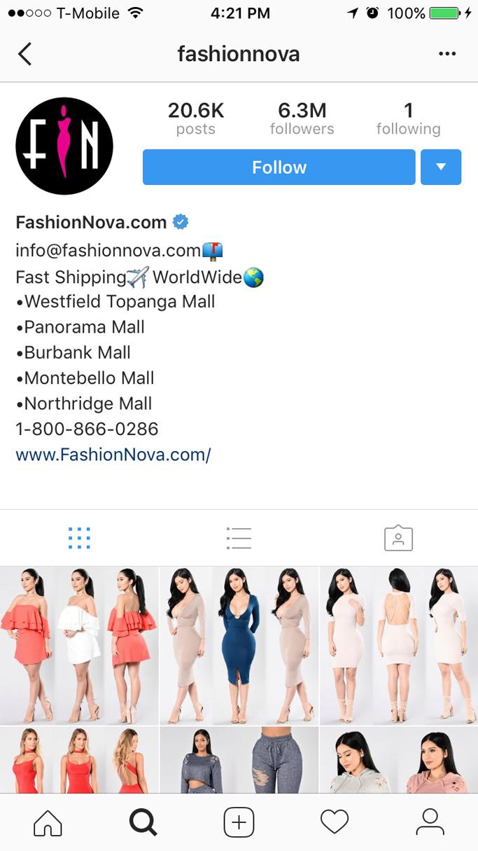 fashion nova instagram