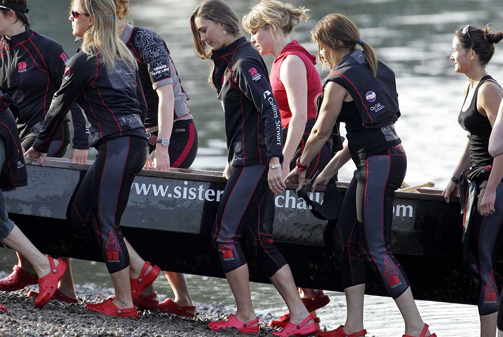 Kate Middleton (centre) in training for the Sisterhood Challenge.