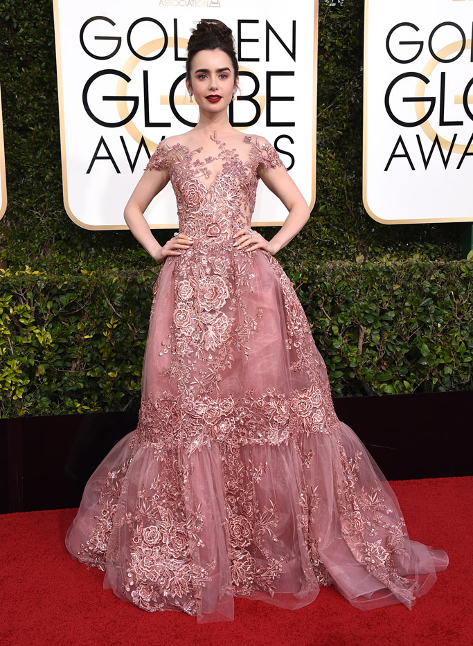 Lily Collins 2017 Golden Globes