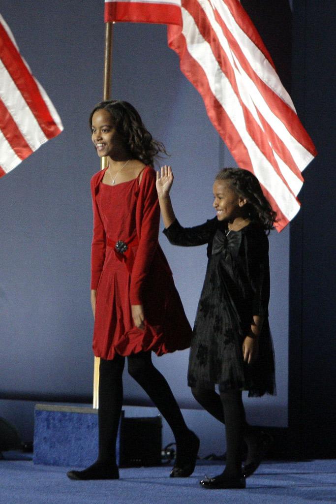 Malia obama, Sasha Obama Style, election night party, chicago, 2008