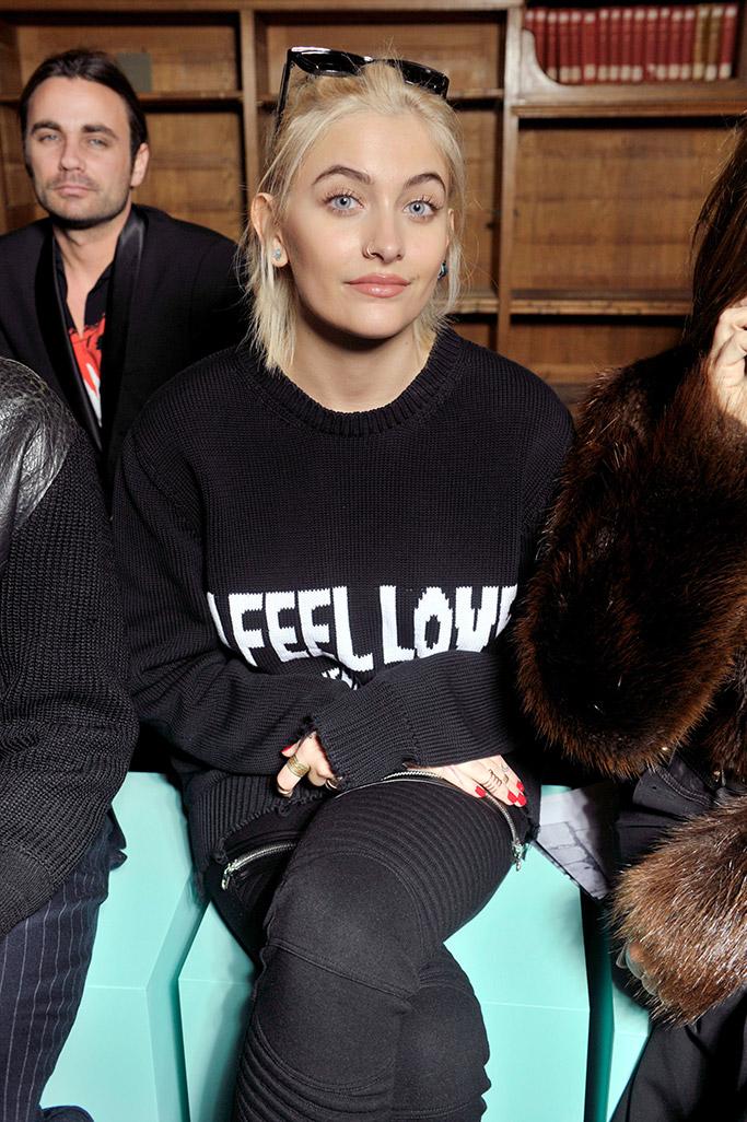 Paris Jackson sits front row at the Givenchy men's show in Paris.
