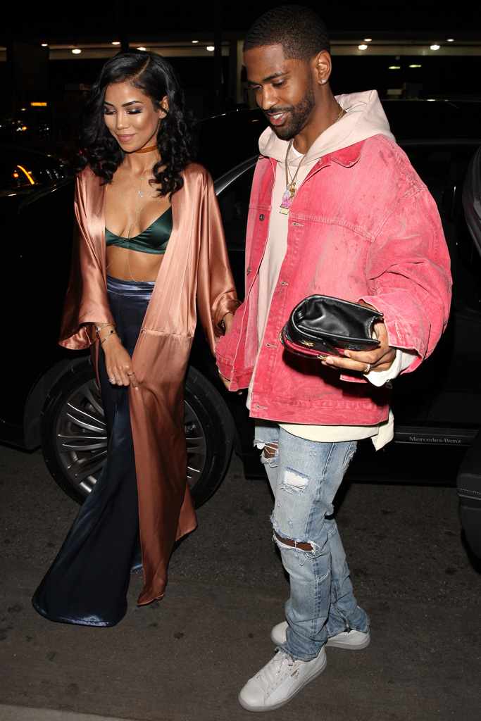 Rapper Big Sean and his girlfriend Jhene Aiko (left) arrive at Delilah night club to celebrate Kendall Jenner's 21st birthday.