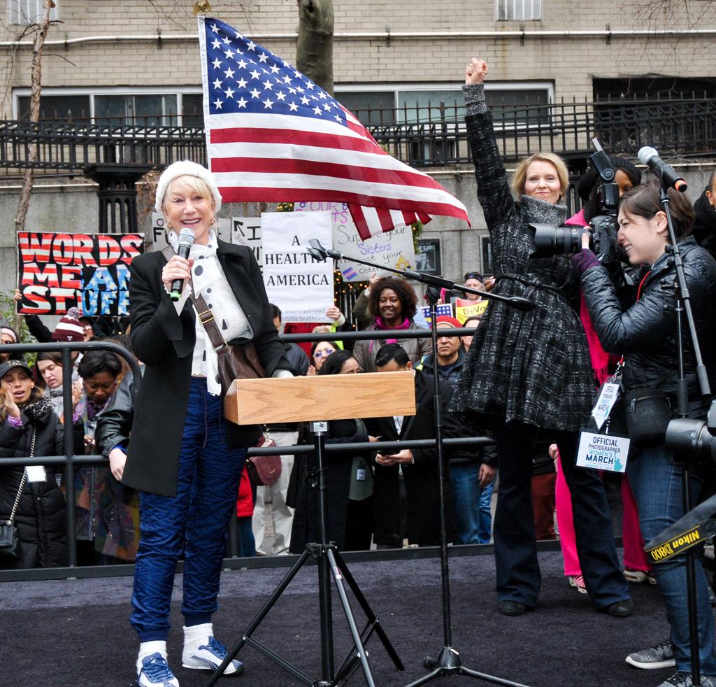 helen mirren Womens Solidarity March trump protest