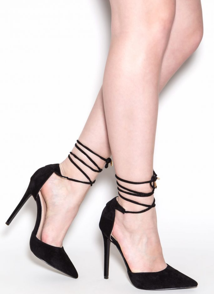 Pretty Promenade Pointy Lace-Up Heels