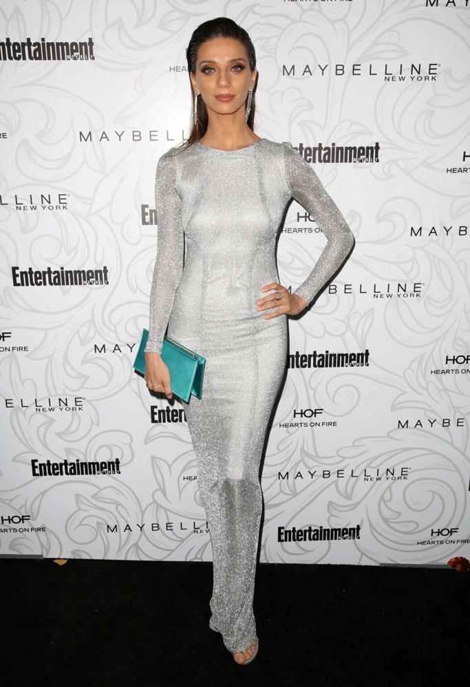 Angela Sarafyan dress maxior earrings