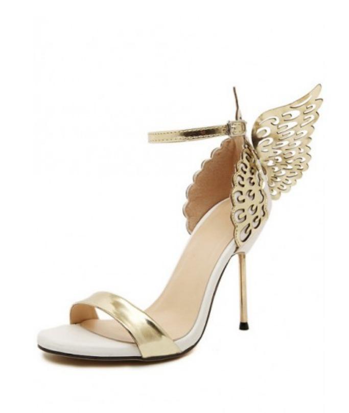 RichChic Gold High Heel Butterfly Sandals