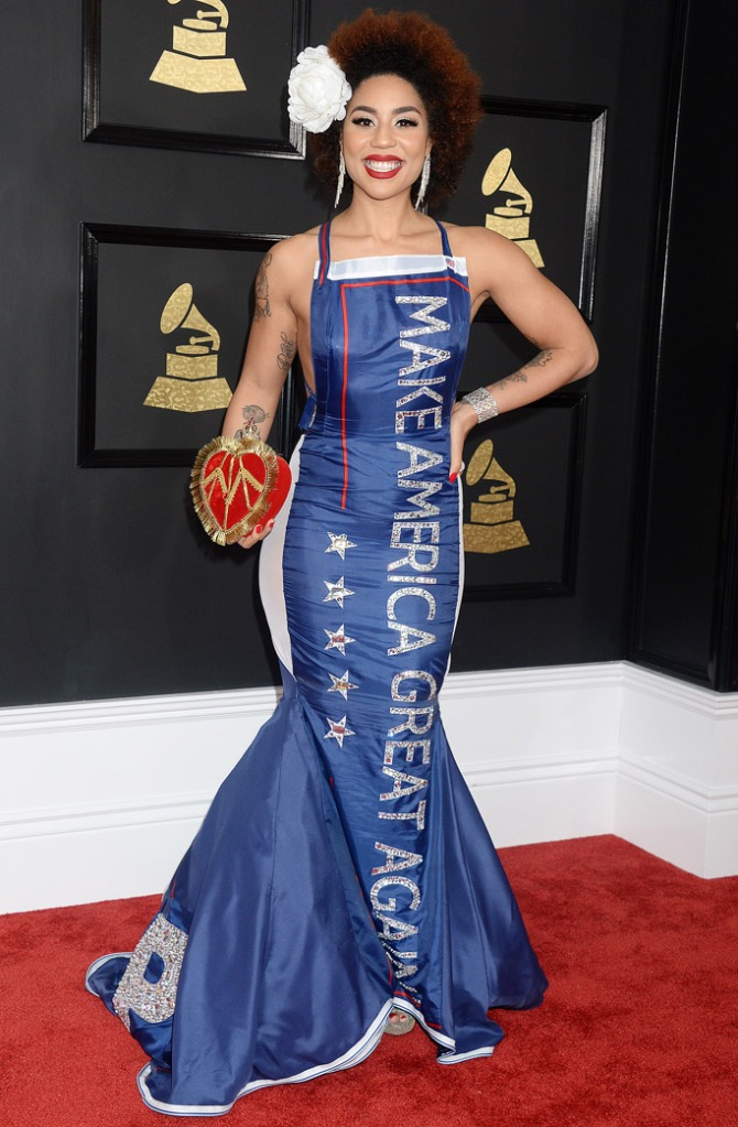 andre soriano joy villa trump dress grammys
