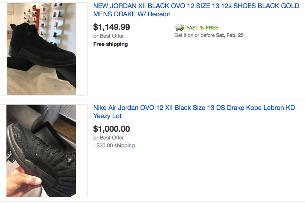 OVO x Air Jordan 12 Resell Prices