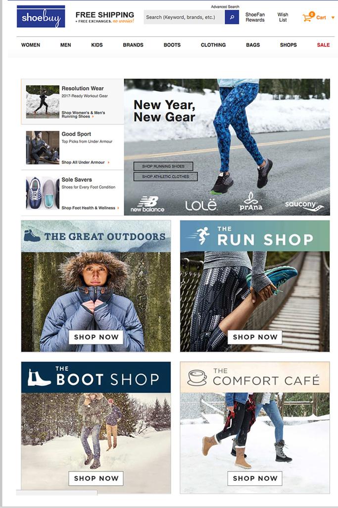 Shoebuy homepage