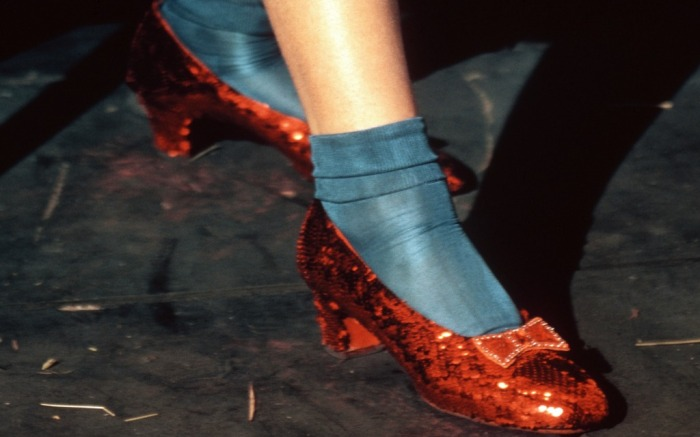 "Dorothy's red slippers in ""Wizard of Oz."""