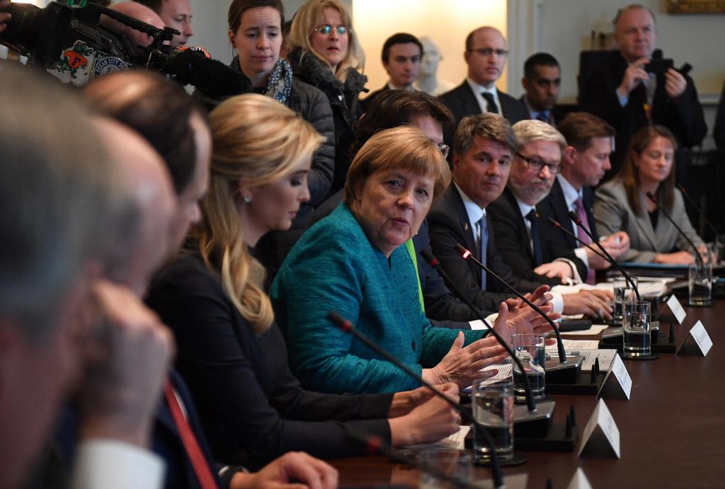 Angela Merkel ivanka trump meeting face