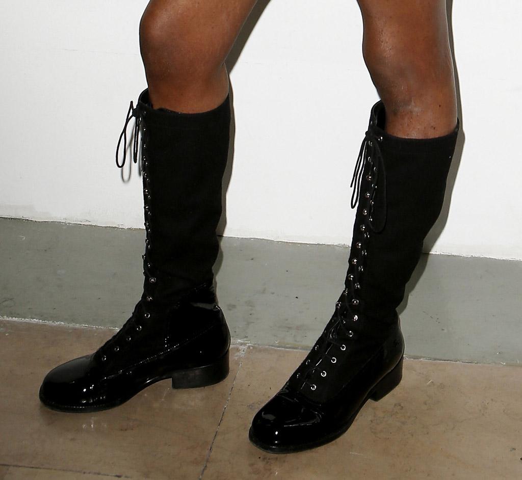 azealia banks paris fashion week thong boots