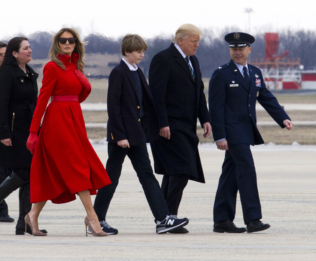barron trump 2017 president son melania alice roi red dress coat donald sneakers new balance shoes