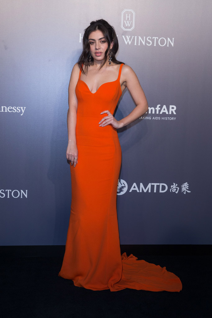 charlie xcx stella mccartney dress orange amfar gala