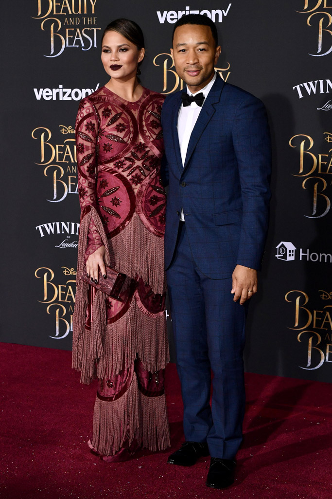 chrissy teigen john legend beauty and the beast movie premiere red carpet