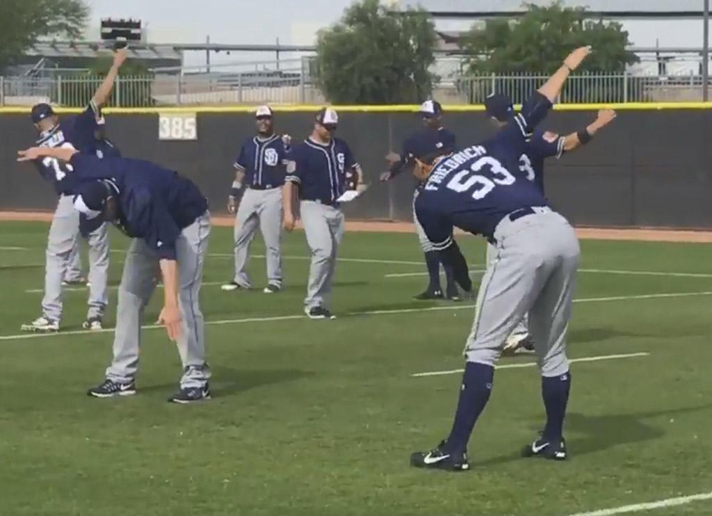 San Diego Padres Pitcher Christian Friedrich booty pop dad dance baseball