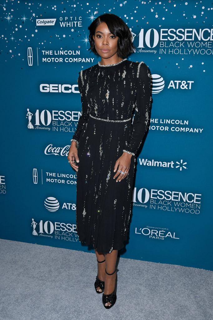 gabrielle union essence awards prada shoes