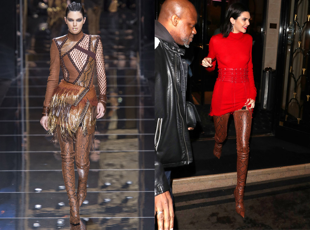 kendall jenner paris fashion week 2017 fall balmain red dress
