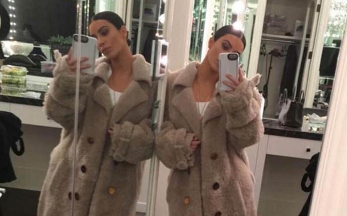 kim kardashian west nude off-white coat snapchat jewelry