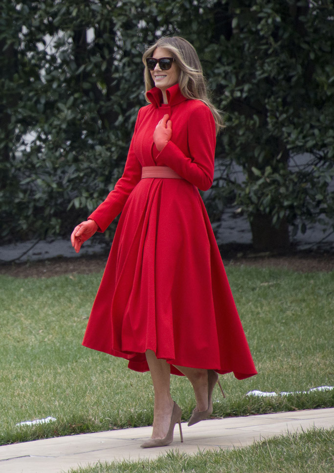 melania trump red coat dress nude pumps white house weekend donald son barron