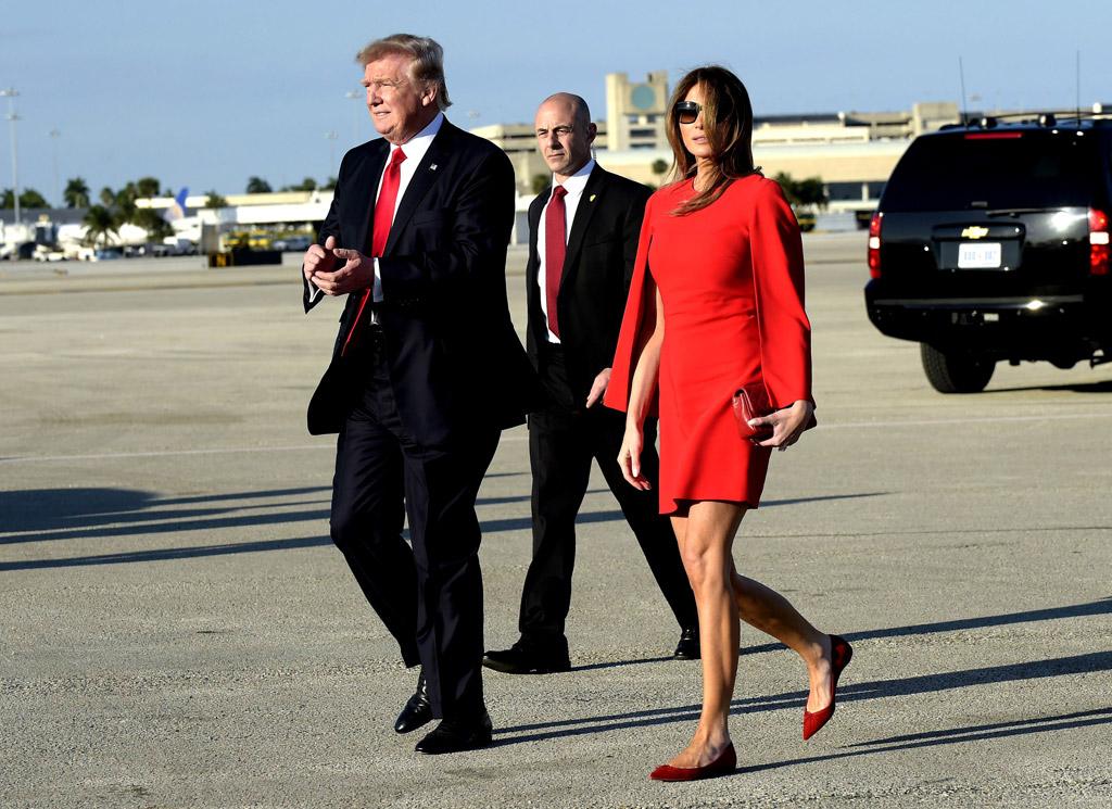 Melania Trump givenchy red dress christian louboutin flats