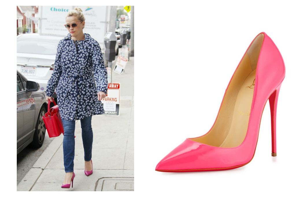 Reese wears Christian Louboutin So Kate pumps in Shocking Pink.