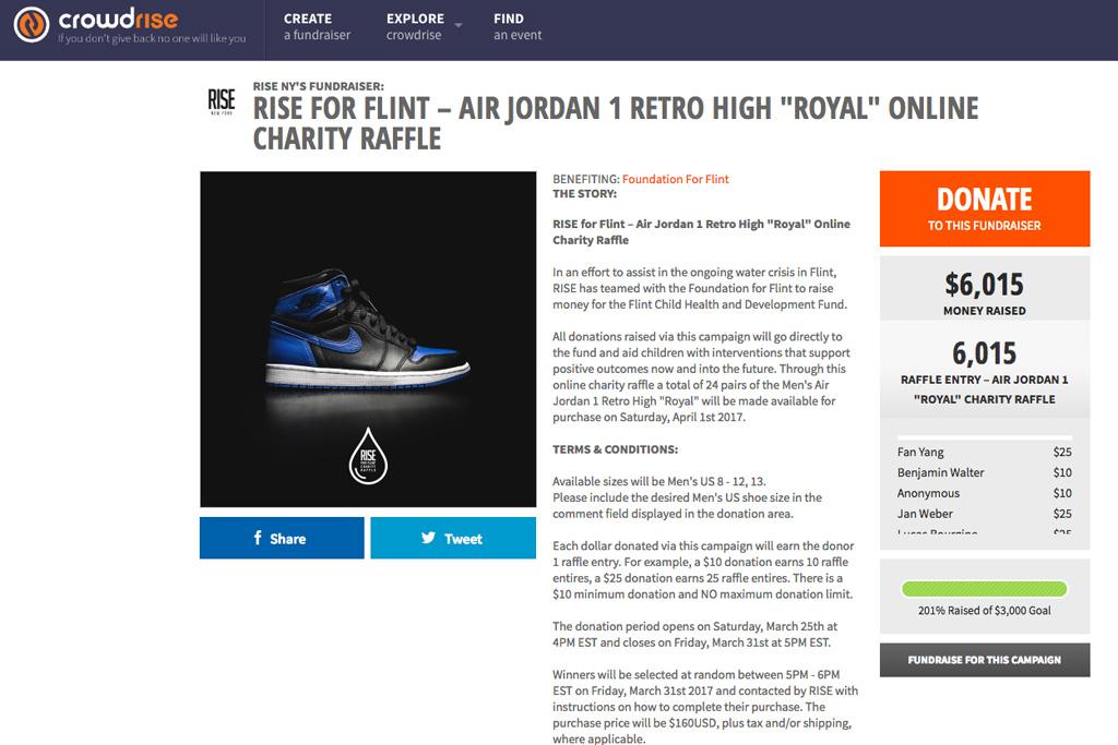 Rise Crowdrise Air Jordan 1 Royal
