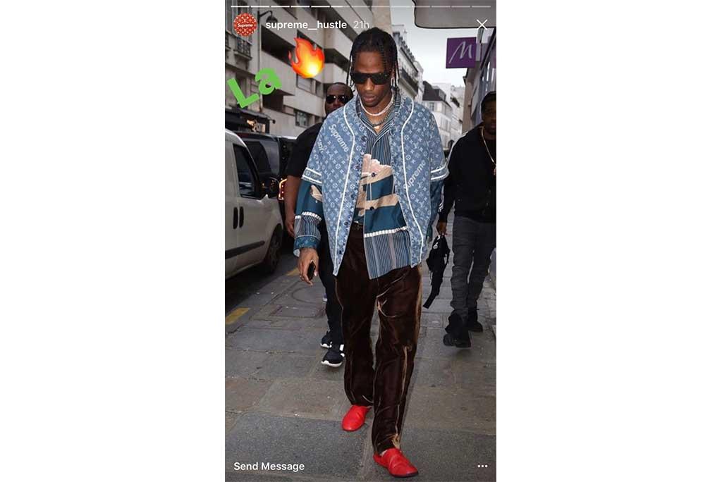 Travis wears Louis Vuitton x Supreme