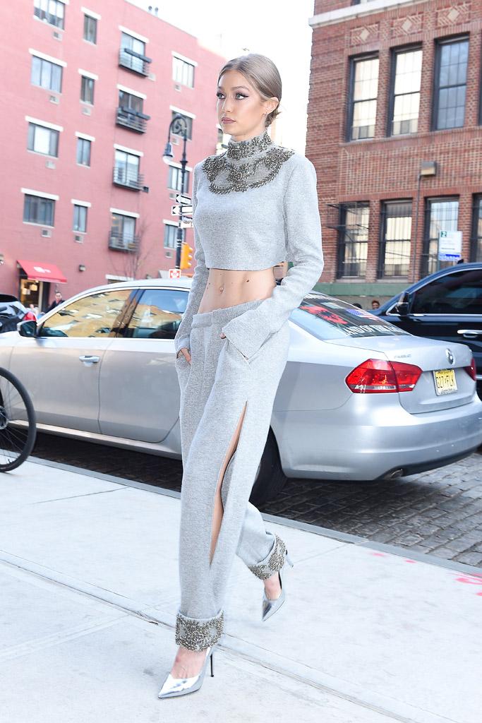 Gigi Hadid Crop Top Saint Laurent Pumps