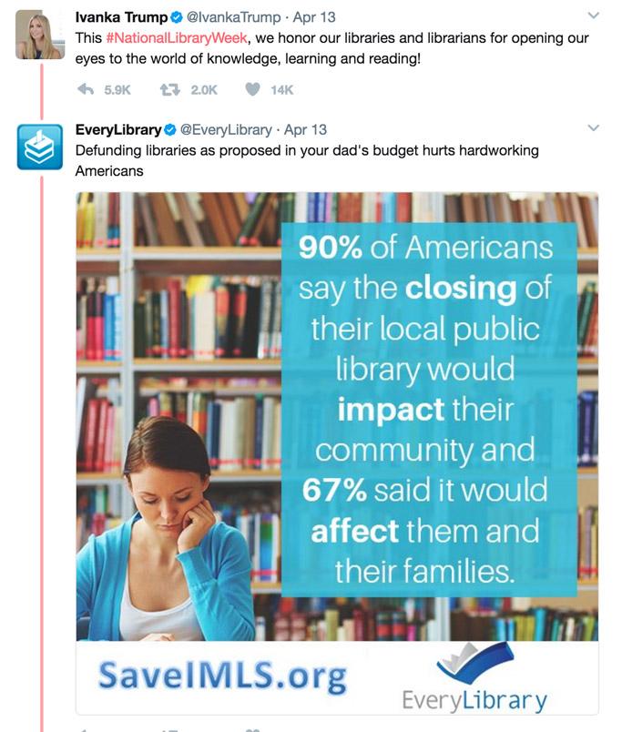 donald ivanka trump twitter librarians week