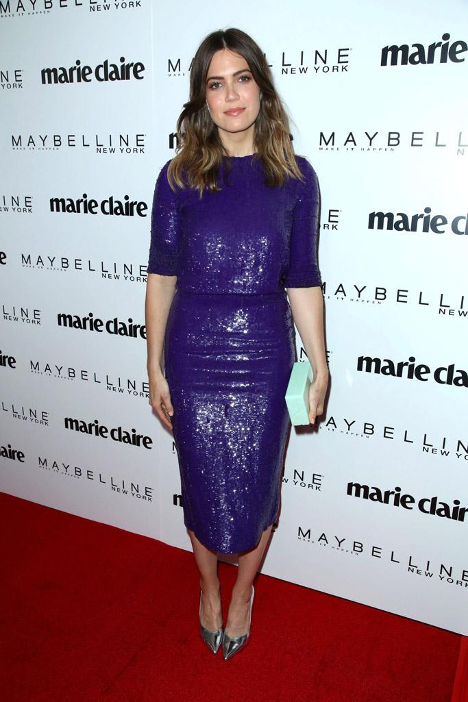 marie claire fresh faces red carpet fashion mandy moore shoes dress style 2017 stella luna silver pumps