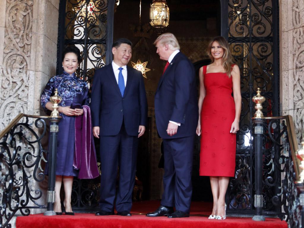 Melania Trump ivanka donald mar-a-lago florida Xi Jinping valentino dress christian louboutin heels