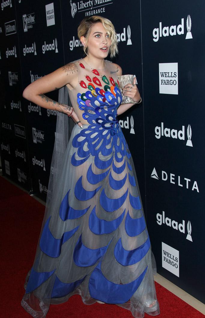 Paris Jackson peacock dress GLAAD Media Awards