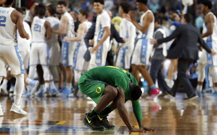 Copyright 2017 The Associated Press. All rights reserved. This material may not be published, broadcast, rewritten or redistributed without permission.Mandatory Credit: Photo by AP/REX/Shutterstock (8561410cp)Oregon's Dylan Ennis reacts after the semifinals of the Final Four NCAA college basketball tournament against North Carolina, in Glendale, Ariz. North Carolina won 77-76Final Four Oregon North Carolina Basketball, Glendale, USA - 01 Apr 2017